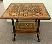 Antique Inlaid Wood Table Unusual Carvings Eye Of Providence