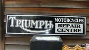 1950and039s-60and039s Triumph Motorcycle Dealer/service Sign/ad 1and039x46and039and039 Garage Art