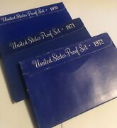 3 U.s. Mint Clad Proof Sets,1970, 1971 And 1972- Original Packages