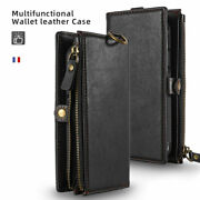 Case For Iphone 12 Pro Zip Coin Purse Card Slot Flip Leather Wallet Phone Cover