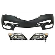 Hid Headlights Lamps Set Of 3 Front Hid/xenon Left-and-right For Acura Mdx 10-13