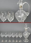 Set Carafe+6 Etched Wine Glasses Of Bohemia With Animals Boar Pheasant Deer Gift