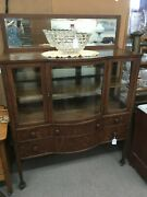 Antique China Cabinet Server Sideboard With Mirror