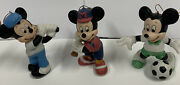 Disney Rare Mickey Mouse Sports Porcelain Figurines Ornaments Set Of 3 New