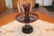 Bohemian Vtg Deep Ruby Red Cut To Clear Glass Large 3 Piece Centerpiece Epergne