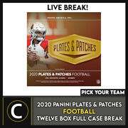2020 Panini Plates And Patches Football 12 Box Break F655 - Pick Your Team