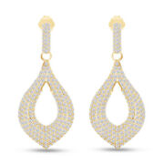 4.25 Ct Round Lab Grown Diamond Tear Drop Pave Hoops Earrings 14k Yellow Gold