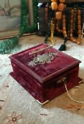 Antique French Victorian Jewelry Box Burgundy Velvet With Tufted Silk Interior A