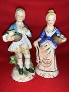 Vintage Capodimonte Rose In Basket French Provincial Figurine Couple ❤️sj11h7s