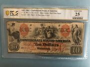 Csa T-22 1861 10 Confederate Currency Pcgs 25