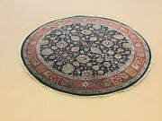 6andrsquo X 6andrsquo Navy Blue Reddish Rust Round Traditional Floral Handknotted Oriental Rug