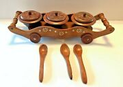 Vintage Handmade Wooden Tray With Three Snack Bowls