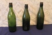 3 Large Vintage Collectable Green Glass Beer Bottles With Screw Stoppers