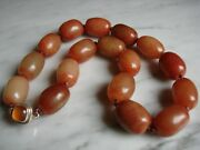 Vintage Chinese Natural Red Jade Jadeite Necklace W/ Sterling And Carnelian Clasp