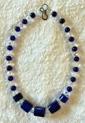 Antique Russian Blue Faceted African Glass Trade Beads Necklace