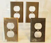 4 Architectural Salvage Metal Electrical Outlet Face Plate Covers Paint And Wear
