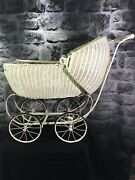 Antique Vintage 1917 Lloyd Loom Products Wicker Doll Baby Buggy Carriage