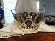 Vtg Pasinski Mid Century Large Glass Snack/ Chip Bowl Dish Gold And Turquoise