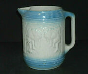 Beautiful Large Blue And White Avenue Of Trees Stoneware Pitcher
