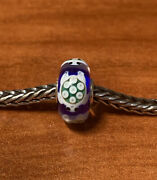 Authentic Trollbeads Unique Ooak Swimming Turtle White On Blue Base Htf New