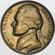 1966-p U.s 5 Cents Jefferson Nickel Special Strike Bu Toned Natural Color Mr