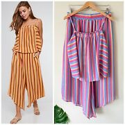 Boutique Rainbow Sugar Stripe 2 Piece Pant And Top Set Nwt Womenand039s Large