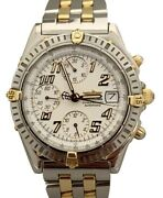 Breitling Chronomat 18k Gold And Steel Auto White Dial 39mm B13352 Watch