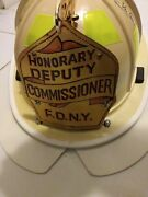 Fire Department Hat With Autographed Honorary Deputy Commissioner F.d.n.y New