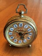 Vintage Linden West Germany Made Gold Filigree Alarm Clock In Working Condition