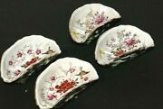 Japanese 4 Antique Kutani Oyster Shooter Hand Painted Individual Oyster Plates