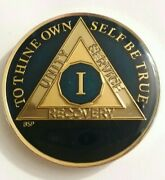 1 Year Aa Sobriety Coin Medallion-midnight Blue One 1st Recovery Chip 1 3/8 Inch