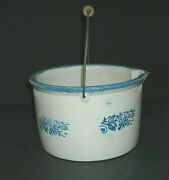 X Lg Blue And White Stenciled Wildflower Batter Crock Stewer Brush Mccoy Stoneware