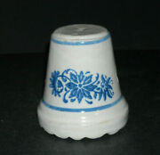 Blue And White Stenciled Wildflower Meat Tenderizer - Stoneware Brush Mccoy Ohio
