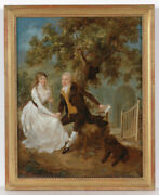 Konrad Wengner 1728-1806 Young Couple Before Village Church Oil On Canvas