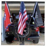 Jeep Heavy Duty 3 Flag Pole Holder Hitch Mount For Rear Tire Mounted Vehicles .