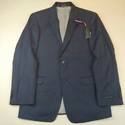 Menand039s Navy Blue Two Button Blazer Jacket Trim Fit R40 Nwt