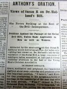 1871 San Francisco California Newspaper W Susan B Anthony Lecture Women Suffrage