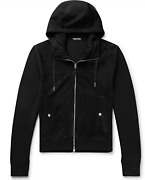 Tom Ford Wool Suede Leather Jacket Hooded Zip-up Blouson Cardigan Jacket New 58