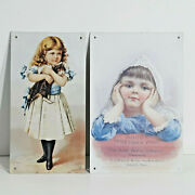2 Vtg Metal Advertising Signs Hoodand039s Vegetable Pills And Girl With Cat Victorian
