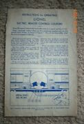 Original Instructions For Operating Lionel Electric Remote Control Couplerblue