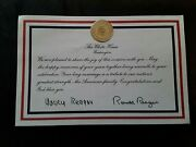 Ronald Reagan And Nancy Reagan Signatures On Official White House Header With..