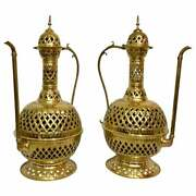 Pair Of Large Tea Pot Aladdin Gold Brass Hand-crafted Floor Or Table Lamps