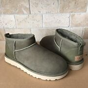 Ugg Classic Ultra Mini Burnt Olive Water-resistant Suede Boots Size Us 7 Women