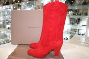 Gianvito Rossi Camoscio Stivale Tabasco Red Suede Bootie-size 40-new And Authentic