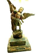 Spanish Colonial Territorial Carved Wood Santos Saint Michael The Archangel 22