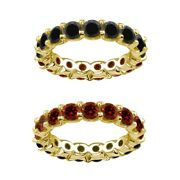 7 Carat Red And Black Real Diamond Reversible Eternity Ring Band 14k Yellow Gold