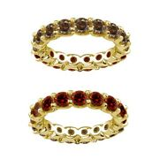 7 Carat Red And Champagne Real Diamond Eternity Ring Band 14k Yellow Gold