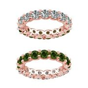 6 Carat Green And White Real Diamond Reversible Eternity Ring Band 14k Rose Gold