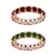 7 Carat Green And Red Real Diamond Reversible Eternity Ring Band 14k Rose Gold