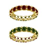 7 Carat Green And Red Real Diamond Reversible Eternity Ring Band 14k Yellow Gold